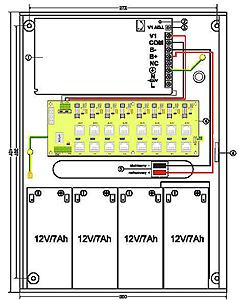 Schemat zasilacza z podłączonymi 4 akumulatorami