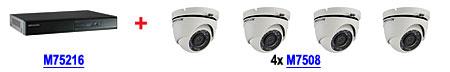 Zestaw promocyjny nr 10 rejestrator M75216 DS-7216HGHI-SH/A + 4 kamery M7508 DS-2CE56D1T-IRM (2.8mm)