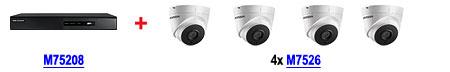 Zestaw: rejestrator M75208 DS-7208HGHI-SH + 4 kamery M7526 DS-2CE56D1T-IT3 (3.6mm)