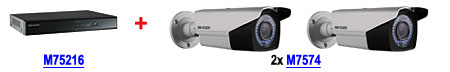 Zestaw: rejestrator M75216 DS-7216HGHI-SH/A + 2 kamery M7574 DS-2CE16D1T-VFIR3
