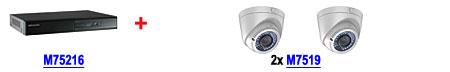 Zestaw: rejestrator M75216 DS-7216HGHI-SH/A + 2 kamery M7519 DS-2CE56D1T-VFIR3