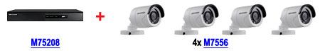 Zestaw: Rejestrator M75208 DS-7208HGHI-SH + 4 kamery M7556 DS-2CE16D1T-IR (2.8mm)
