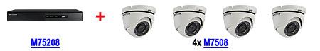 Zestaw promocyjny nr 8 rejestrator M75208 DS-7208HGHI-SH + 4 kamery M7508 DS-2CE56D1T-IRM (2.8mm)