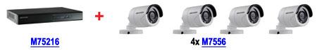 Zestaw promocyjny nr 9 Rejestrator M75216 DS-7216HGHI-SH/A + 4 kamery M7556 DS-2CE16D1T-IR (2.8mm)