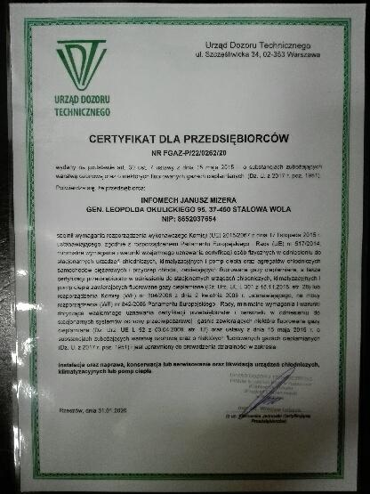 Montaż klimatyzacji Stalowa Wola certyfikat instalatora UDT